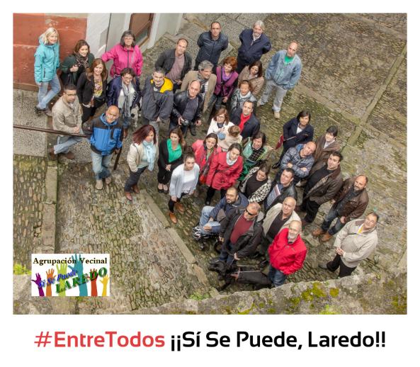 Imagen con la candidatura a las elecciones municipales de 2015, acompañada de simpatizantes de la Agrupación SSPL