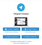Página principal del programa Telegram