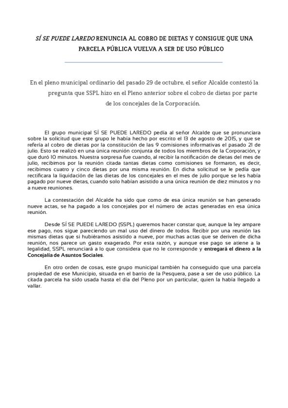 NOTA PRENSA -Pleno 29.10.15