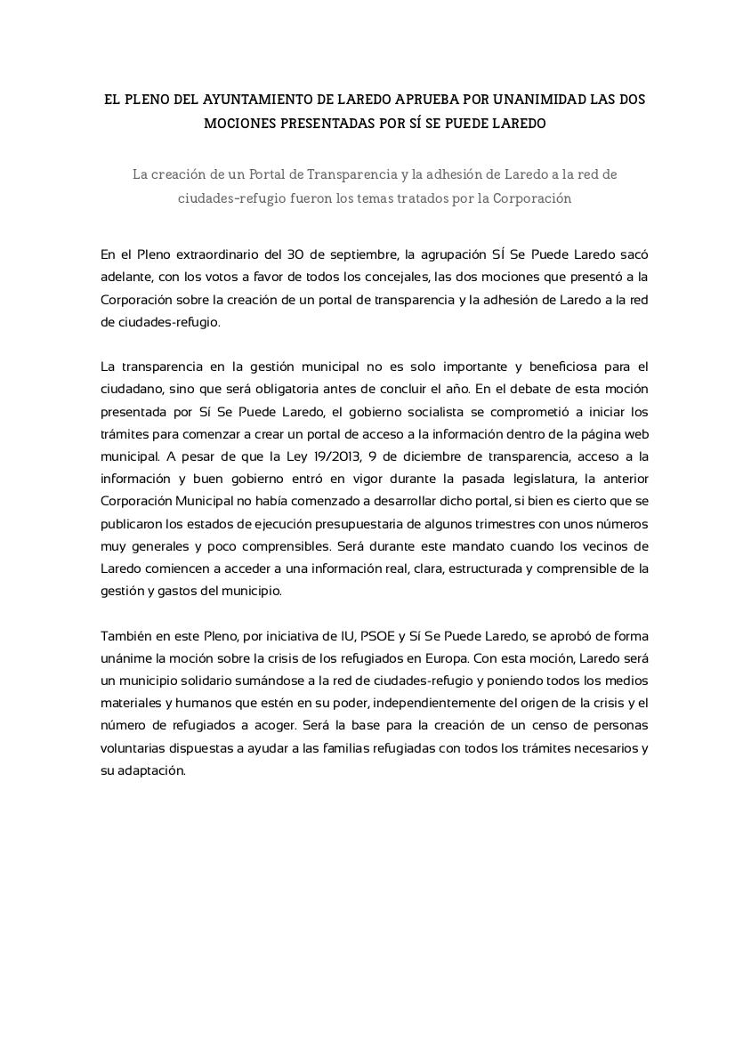 NOTA PRENSA -Pleno 30.09