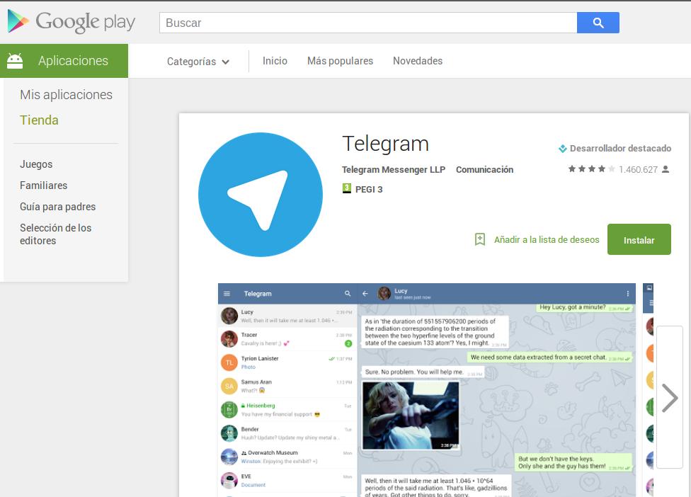 Telegram en la Play Store