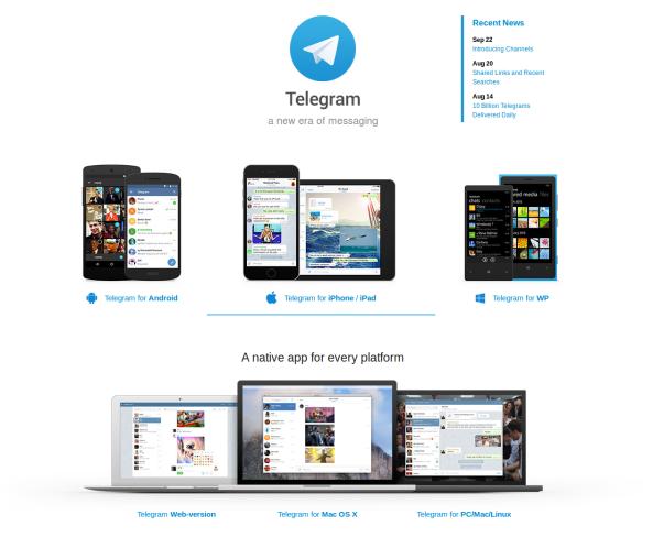 Página principal de Telegram