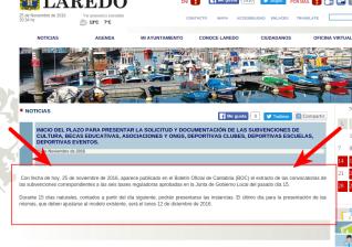 Detalle de la noticia en laredo.es, la web del Ayuntamiento de Laredo
